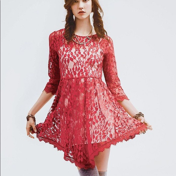 Free People Dresses & Skirts - Free People Red Floral Lace Dress